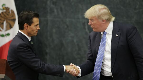 Republican presidential nominee Donald Trump and Mexico's President Enrique Pena Nieto shake hands at a press conference at the Los Pinos residence in Mexico City. - Sputnik International
