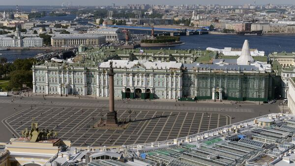 A view of the Palace Square and State Hermitage Museum in St. Petersburg. The photo was taken from a helicopter. - Sputnik International