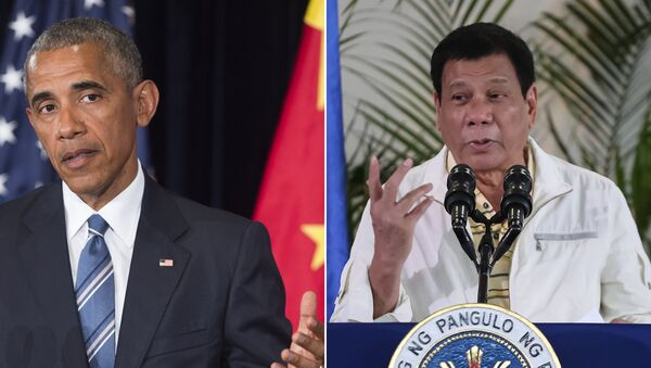 This combination image of two photographs taken on September 5, 2016 shows, at left, US President Barack Obama speaking during a press conference following the conclusion of the G20 summit in Hangzhou, China, and at right, Philippine President Rodrigo Duterte speaking during a press conference in Davao City, the Philippines, prior to his departure for Laos to attend the ASEAN summit - Sputnik International