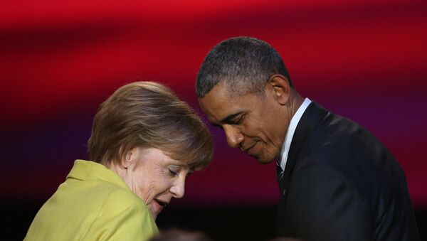 US President Barack Obama and German Chancellor Angela Merkel attend during the official opening ceremony of the Hanover industry Fair at the Hannover Congress Center HCC in Hanover, on April 24, 2016. - Sputnik International