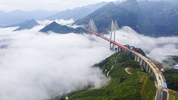 This picture taken on September 10, 2016 shows the Beipanjiang Bridge, near Bijie in southwest China's Guizhou province. - Sputnik International