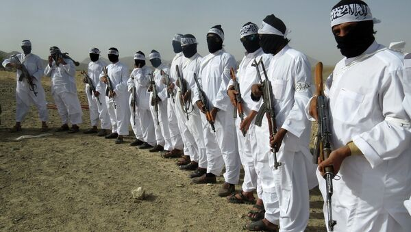 File, In this Aug. 15, 2016 photo, Taliban suicide bombers stand guard during a gathering of a breakaway Taliban faction, in the border area of Zabul province, Afghanistan - Sputnik International
