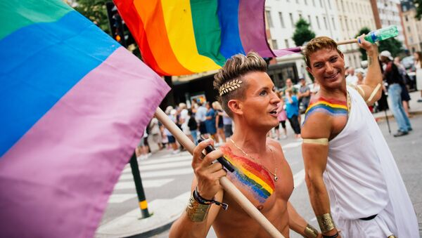 Participants carry a rainbow flag during the Gay Pride Parade on August 2, 2014, in Stockholm - Sputnik International