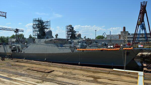 The launch of the Gepard 3.9 class  frigate at the Gorky Zelenodolsk Plant in Tatarstan. (File) - Sputnik International