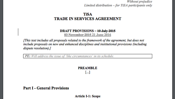 Leaked documents relating to negotiations of the Trade in Services Agreement (TiSA), released by Greenpeace. - Sputnik International