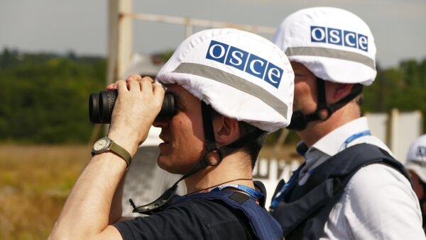 OSCE inspectors examine the territory of the Donetsk filter plant, situated on the contact line between Yasinovataya and Avdeyevka in Donbass, which was heavily shelled by the Ukrainian army - Sputnik International