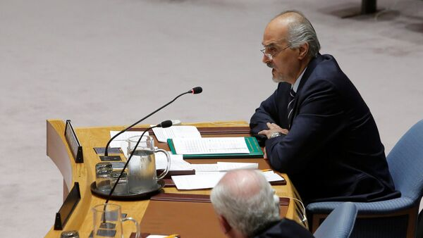 Syrian Ambassador to the United Nations Bashar al-Jaafari addresses the United Nations Security Council during a high level meeting on Syria at the United Nations in Manhattan, New York, U.S - Sputnik International