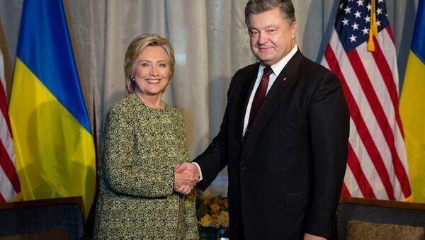 Hillary Clinton meeting with Ukraine's Petro Poroshenko - Sputnik International