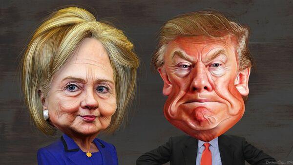 Clinton and Trump cartoon - Sputnik International