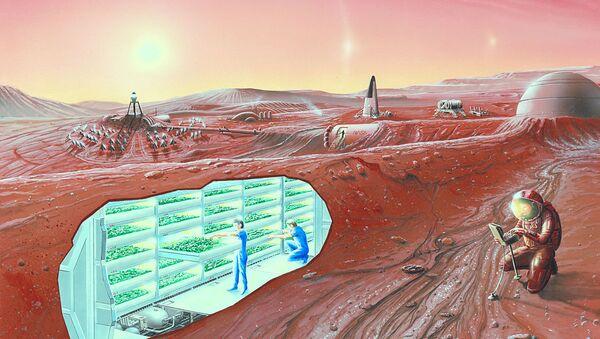 An artist's conception of a human Mars base, with a cutaway revealing an interior horticultural area - Sputnik International