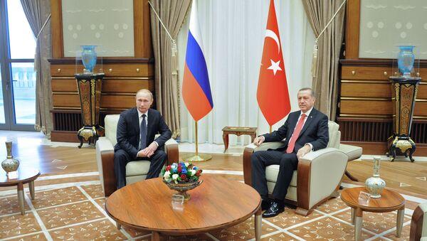 Russian President Vladimir Putin, left, and President of Turkey Recep Tayyip Erdogan during a meeting in the Presidential Palace in Ankara (File) - Sputnik International