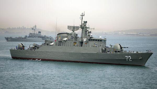 Iranian warship Alborz, foreground, prepares before leaving Iran's waters (File) - Sputnik International