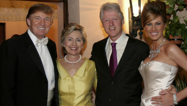 Bill and Hillary Clinton at Donald and Melania Trump's wedding - Sputnik International