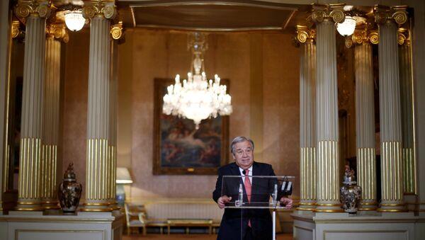 Nominated U.N. Secretary-General Antonio Guterres attends a news conference at Necessidades Palace in Lisbon, Portugal October 6, 2016 - Sputnik International