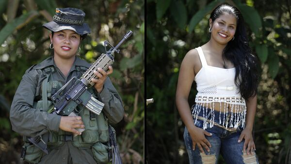 This Aug. 16, 2016 photo shows two portraits of Johana, one of her holding a weapon while in uniform for the 32nd front of the Revolutionary Armed Forces of Colombia (FARC), and in civilian clothing at a guerrilla camp in the southern jungle of Putumayo, Colombia - Sputnik International