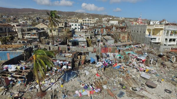 Aerial view of damages in small village of Casanette near Baumond, Haiti on October 8, 2016 after Hurricane Matthew passed the area.  - Sputnik International