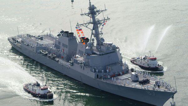 The USS Mason (DDG 87), a guided missile destroyer, arrives at Port Canaveral, Florida, April 4, 2003 - Sputnik International