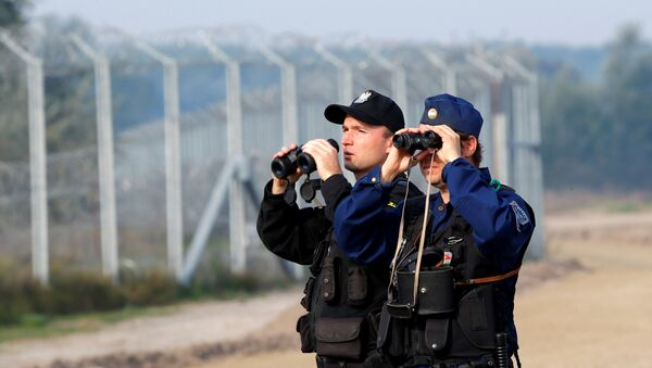Hungarian and Polish policeman patrol at the Hungary and Serbia border fence near the village of Asotthalom, Hungary, October 2, 2016 as Hungarians vote in a referendum on the European Union's migrant quotas. - Sputnik International
