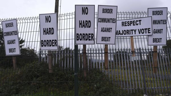 Banners are displayed during a protest by Anti-Brexit campaigners, Borders Against Brexit, against Britain's vote to leave the European Union, at the border town of Carrickcarnon in Ireland October 8, 2016. - Sputnik International