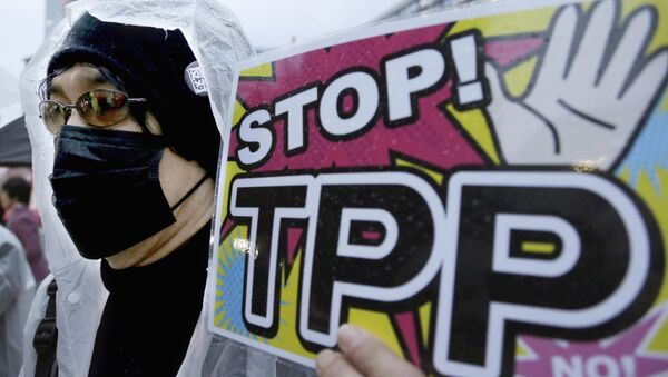 A protester holds a placard during a rally against the Trans-Pacific Partnership (TPP) in Tokyo - Sputnik International