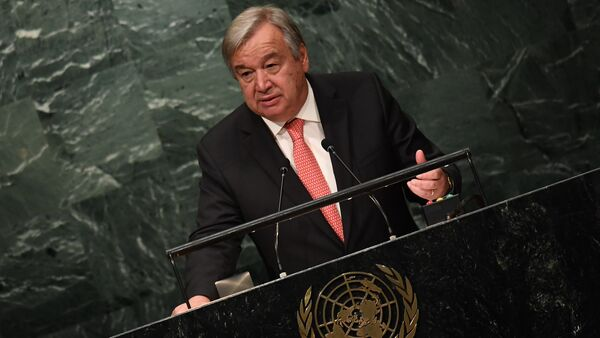 UN Secretary-General-designate Antonio Guterres speaks during the ceremony for the appointment of the Secretary-General during the 70th session of the General Assembly October 13, 2016 at the United Nations in New York - Sputnik International