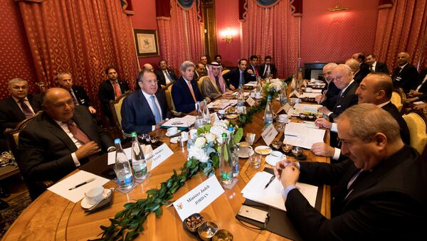 (From L-R), Egypt's Foreign Minister Sameh Shoukry, Russia's Foreign Minister Sergei Lavrov, U.S. Secretary of State John Kerry, Saudi Arabia's Foreign Minister Adel al-Jubeir, Qatar's Foreign Minister Sheikh Mohammed bin Abdulrahman al-Thani, Iraq's Foreign Minister Ibrahim al-Jaafari, Iran's Foreign Minister Mohammad Javad Zarif, Staffan de Mistura, UN Special Envoy of the Secretary-General for Syria, Turkey's Foreign Affairs Minister Mevlut Cavusoglu, Jordan's Foreign Minister Nasser Judeh, speak together around a table during a bilateral meeting where they discussed the crisis in Syria, in Lausanne, Switzerland, October 15, 2016 - Sputnik International