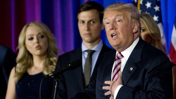 Republican presidential candidate Donald Trump is joined by his daughter Tiffany, left, and son-in-law Jared Kushner as he speaks during a news conference at the Trump National Golf Club Westchester,  June 7, 2016, in Briarcliff Manor, NY. - Sputnik International