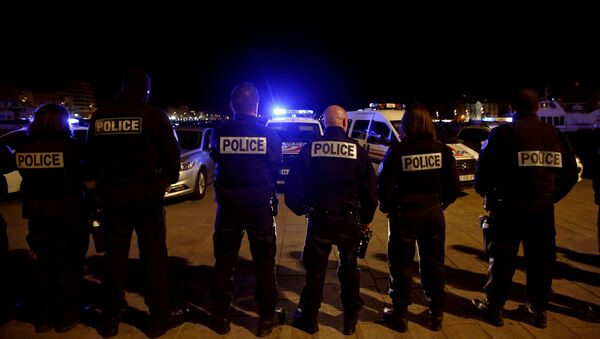 Police officers gather during an unauthorised protest against anti-police violence at the old harbour in Marseille, France, early October 19, 2016 - Sputnik International