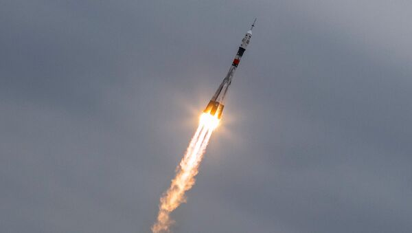 The Soyuz MS-02 spacecraft carrying the crew of Shane Kimbrough of the U.S., Sergey Ryzhikov and Andrey Borisenko of Russia blasts off to the International Space Station (ISS) from the launchpad at the Baikonur cosmodrome, Kazakhstan, October 19, 2016. - Sputnik International