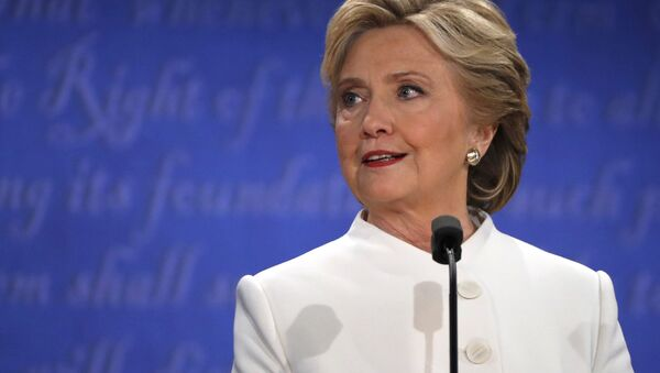 Democratic presidential nominee Hillary Clinton speaks during the third and final 2016 presidential campaign debate with Republican U.S. presidential nominee Donald Trump (not pictured) at UNLV in Las Vegas, Nevada, US, October 19, 2016. - Sputnik International