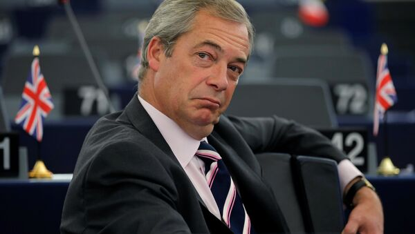 Nigel Farage, United Kingdom Independence Party (UKIP) member and MEP waits for the start of a debate on the last European Summit at the European Parliament in Strasbourg, France, October 26, 2016. - Sputnik International