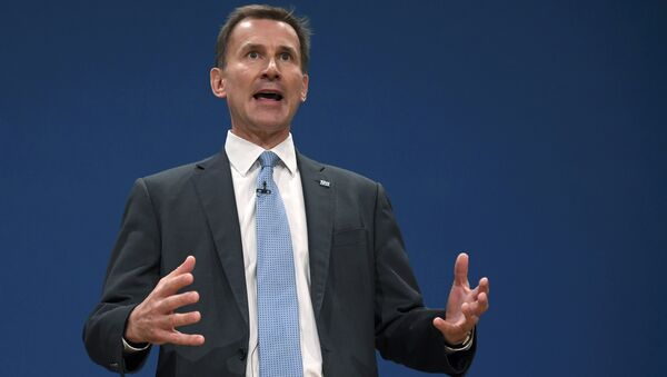 Britain's Health Secretary Jeremy Hunt delivers his keynote address at the annual Conservative Party Conference in Birmingham, Britain, October 4, 2016. - Sputnik International