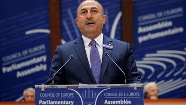 Turkey's Foreign Minister Mevlut Cavusoglu addresses the Parliamentary Assembly of the Council of Europe in Strasbourg, France, October 12, 2016. - Sputnik International