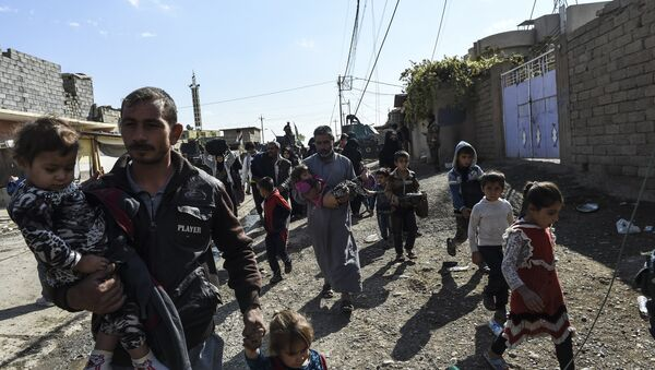 Iraqi civilians flee the village of Gogjali, a few hundred metres of Mosul's eastern edge, as clashes go on between Iraq army forces and jihadists of the Islamic State (IS) group to retake Mosul, the last Iraqi city under the control of IS, on November 2, 2016 - Sputnik International