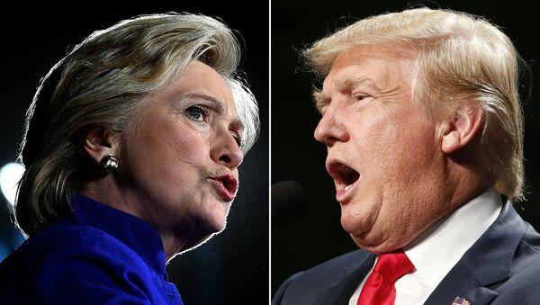 US Democratic presidential nominee Hillary Clinton in Tempe, Arizona, on November 2, 2016 and US Republican Presidential nominee Donald Trump in Warren, Michigan on October 31, 2016. - Sputnik International