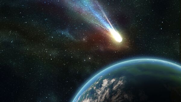 Earth in space with a flying asteroid - Sputnik International