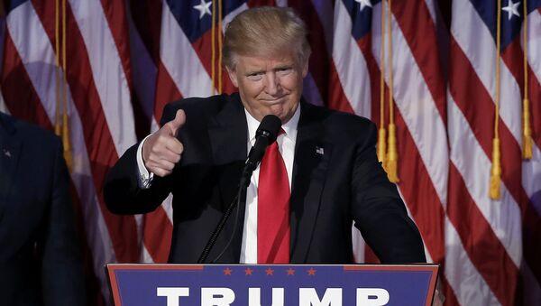 U.S. President-elect Donald Trump greets supporters during his election night rally in Manhattan, New York, U.S., November 9, 2016 - Sputnik International