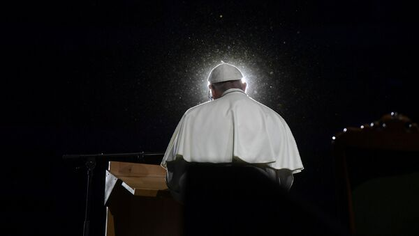 Pope Francis speaks during a meeting at the Malmo Arena in Malmo, Sweden, October 31, 2016 - Sputnik International