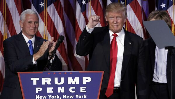 US President-elect Donald Trump and his running mate Mike Pence address their election night rally in Manhattan, New York, US, November 9, 2016. - Sputnik International