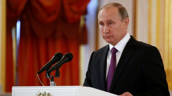 Russia's President Vladimir Putin addresses the audience during a ceremony of receiving diplomatic credentials from foreign ambassadors at the Kremlin in Moscow, Russia, November 9, 2016 - Sputnik International