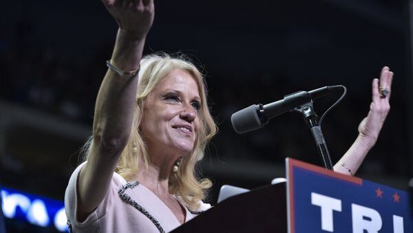 Trump campaign manager Kellyanne Conway speaks at a rally for Republican presidential nominee Donald Trump at the Giant Center in Hershey, Pennsylvania on 4 November 2016 - Sputnik International