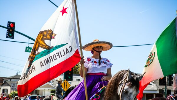 A woman carries a California flag during the 4th of July Parade in Alameda, California on Monday, July 4, 2016. - Sputnik International