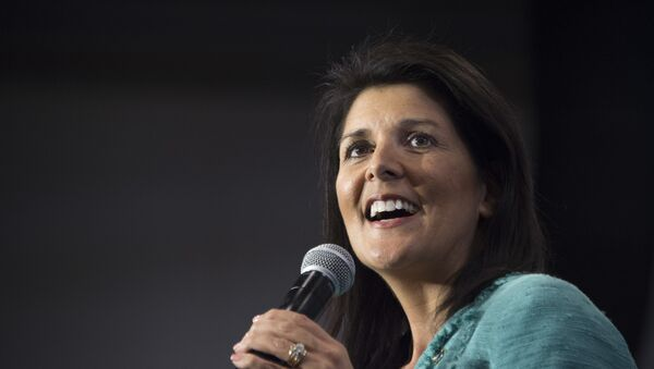 South Carolina Governor Nikki Haley speaks during a campaign rally for Republican presidential candidate Marco Rubio in North Charleston, South Carolina, February 19, 2016 - Sputnik International