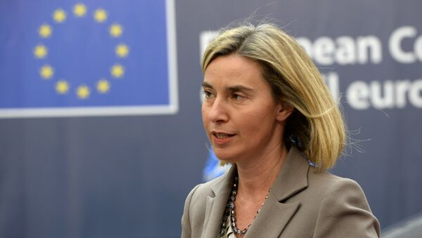 EU's High representative for foreign affairs and security policy Federica Mogherini arrives for an European Union leaders summit on October 20, 2016 at the European Council, in Brussels. - Sputnik International