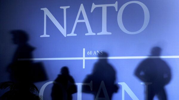 This April 2, 2009 file photo shows shadows cast on a wall decorated with the NATO logo and flags of NATO countries in Strasbourg, eastern France, before the start of the NATO summit which marked the organisation's 60th anniversary.  - Sputnik International