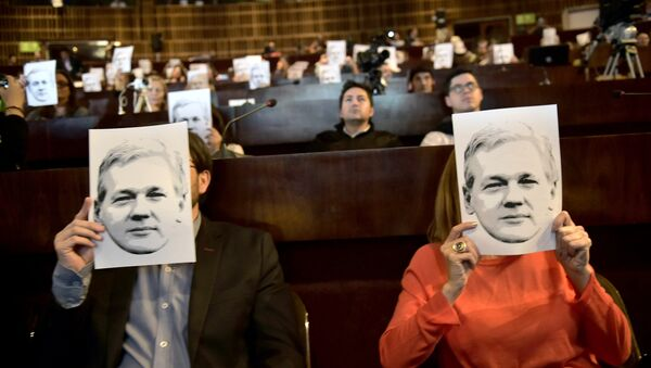 People attend a video conference of WikiLeaks founder Julian Assange at the International Center for Advanced Communication Studies for Latin America (CIESPAL) auditorium in Quito on June 23, 2016. - Sputnik International