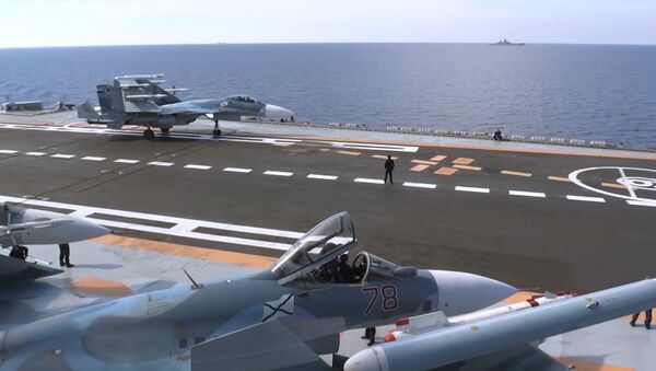 Flight deck of Admiral Kuznetsov aircraft carrier - Sputnik International