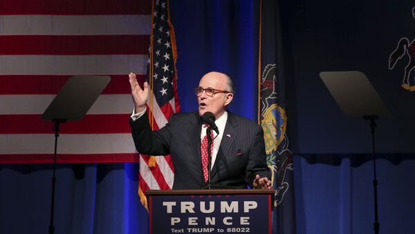 Former New York City Mayor Rudy Giuliani addresses a gathering at a campaign rally for Republican presidential candidate Donald Trump Monday, Nov. 7, 2016, in Scranton, Pa - Sputnik International