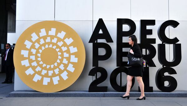 A woman walks by an APEC logo outside the Lima Convention Centre, during the Asia-Pacific Economic Cooperation (APEC) Summit on November 17, 2016 in Lima - Sputnik International