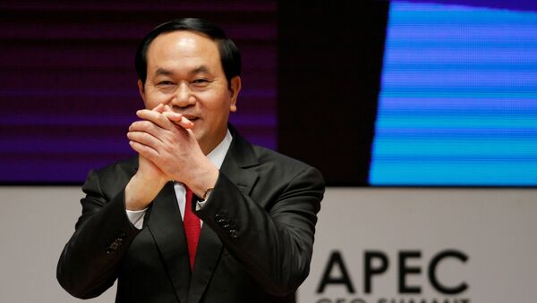 Vietnam's President Tran Dai Quang gestures during a meeting of the APEC (Asia-Pacific Economic Cooperation) CEO Summit in Lima, Peru, November 19, 2016. - Sputnik International